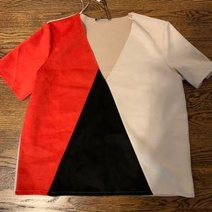 Zara color blocked top